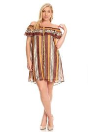 Plus Size Off Shoulder Native Pattern Chiffon Tunic Dress