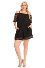 Plus Size Cold Shoulder Classy Crochet Floral Sleeved Pocket Romper