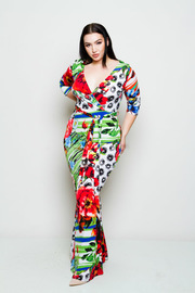 Plus Size Surplice Tropical Printed Maxi Dress