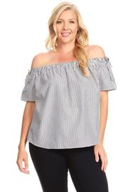 Plus Size Off Shoulder Striped Laced Back Overlap Detail Top
