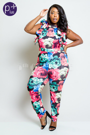Plus Size Multi-Colored In Bloom Roses Cascade Trim Jumpsuit
