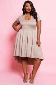 Plus Size Short Sleeved Hi Lo Skater Dress
