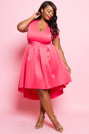Plus Size Short Sleeved Hi Lo Skater Dress
