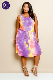 Plus Size Cute Tie Dye Tie Waist Dress