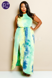 Plus Size Summer Vibes Tie Dye Maxi Jersey Dress