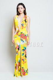 Deep V Tropical Floral Slit Maxi Dress