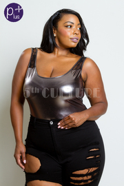 Plus Size Laced Back PU Sexy Bodysuit