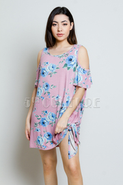 Cold Shoulder Roses Tunic Dress