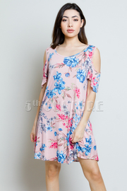 Open Shoulder Floral Printed Tunic Dress