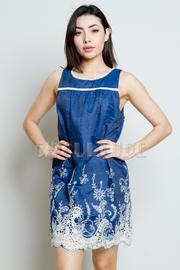 Embroidery Denim Tunic Dress
