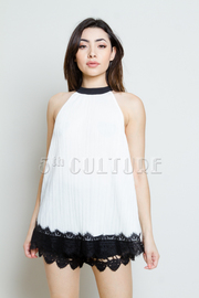 Laced Hemlime Pleated Silky Top