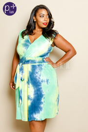 Plus Size Surplice Tie Dye Tie Side Dress