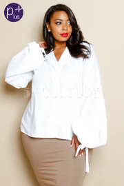 Plus Size Long Sleeved Classic Button Down Shirt