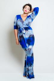 Plus Size 3/4 Sleeved Surplice Maxi Tie Dye Dress