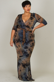 Plus Size Casual Tie Dye 3/4 Sleeved Maxi Tie Dress