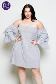 Plus Size Off Shoulder Ruffled Layered Mini Dress