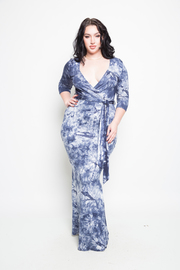 Plus Size All Tie Dye Tie Waist Maxi Surplice Dress