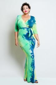 Plus Size Two Toned Maxi Tie Dye Tie Waist Dress