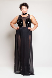 Plus Size 2-Piece Glam Cocktail Sexy Sequin Bodysuit Mesh Maxi Skirt Set