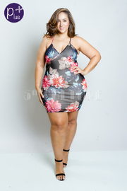 Plus Size All Mesh Floral Bodycon Dres