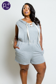 Plus Size Hooded Jersey Romper