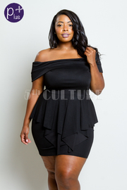 Plus Size Off Shoulder Peplum Mini Dress