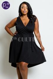 Plus Size V-neck Flowy Flared Dress