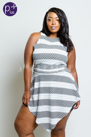 Plus Size Striped Asymmetric Flounce Romper