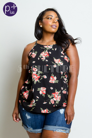 Plus Size Casual Floral Print Top