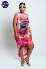 Plus Size Sliced Hi Lo Tie Dye Maxi Dress