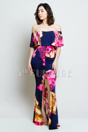 Off Shoulder Floral Slit Front Maxi Dress