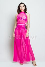 3-Piece Paradise Beach Bikini Cover Up Mesh Maxi Dress Set