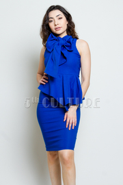 Bow Detailed Bengaline Midi Peplum Dress