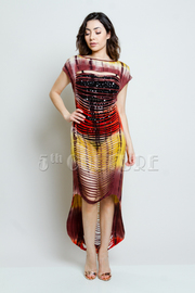 Tie Dye Sliced Hi Low Jersey Dress