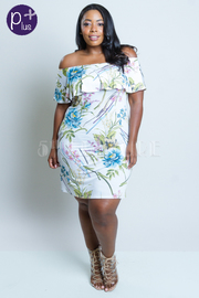Plus Size Off Shoulder Floral Bodycon Dress