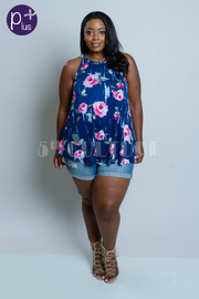 Plus Size Sleeveless Roses Print Summer Top