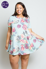 Plus Size Floral Printed Tunic Dress