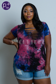 Plus Size Sliced Tie Dye Summer Top