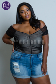 Plus Size Off Shoulder All Mesh Top