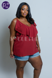 Plus Size Solid V-neck Flounce Solid Top