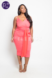Plus Size Tie Side Surplice Midi Tube Dress