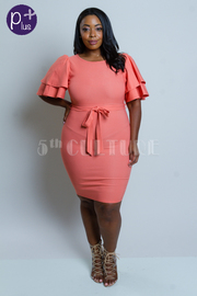 Plus Size Exagerrated Ruffled Sleeved Tie Bodycon Dress