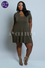 Plus Size Sliced Chest Solid Jersey Tunic Dress