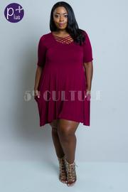 Plus Size Criss Cross Solid Tunic Summer Dress