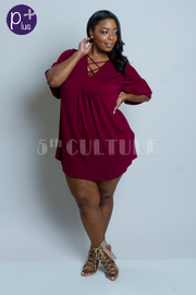 Plus Size Solid Flowy Woven Tunic Dress