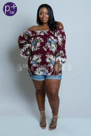 Plus Size Off Shoulder Crochet Trim Floral Blouse