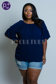 Plus Size Solid Loose Woven Blouse