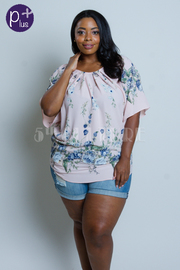 Plus Size Scoop Neck Floral Printed Blouse