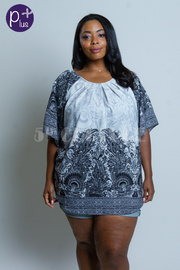 Plus Size Paisley Printed Tunic Top