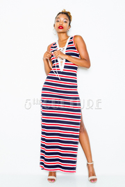 Striped Tie Up Maxi Slit Dress
